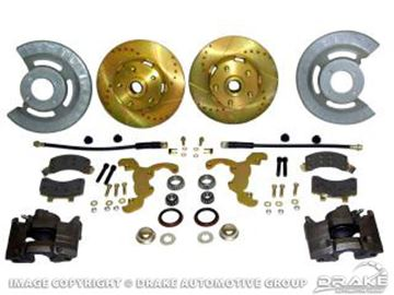 Picture of Disc Brake Conversion Kit (V8, hi-po slotted rotors, single piston calipers, will not fit original 14'x5' standard steel rims) : DBC-6569-RACE