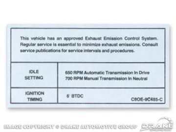 Picture of 390-428-4V Auto/Manual Transmission Emission Decal : DF-297