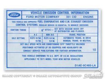 Picture of 351 2V Auto/Manual Transmission Emission Decal : DF-554