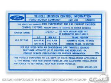 Picture of 429 4V CJ Auto/Manual Transmission Emission Decal : DF-555