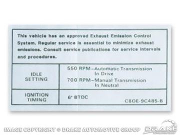 Picture of 302, 351-4V Auto/Manual Transmission Emissions Decal : DF-562