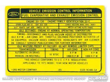 Picture of 351-4V Manual Transmission Emission Decal : DF-582