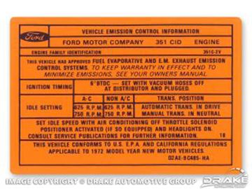 Picture of 351C-2V Auto/Manual Transmission Emission Decal : DF-594