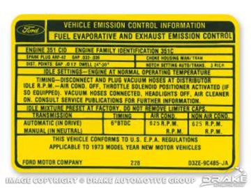 Picture of 351C-2V Auto Transmission Emission Decal : DF-640