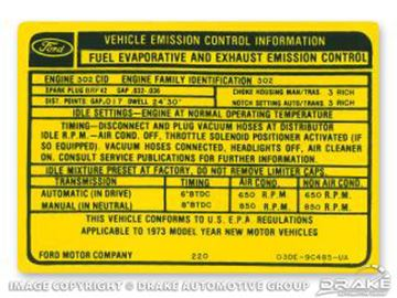 Picture of 302-2V Auto/Manual Transmission Emission Decal : DF-641