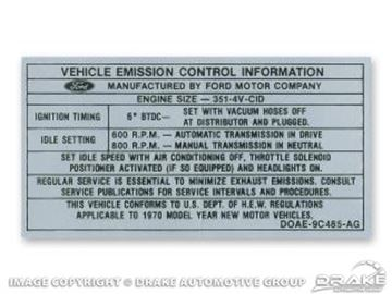 Picture of 351-4V Auto/Manual Transmission Emission Decal : DF-742