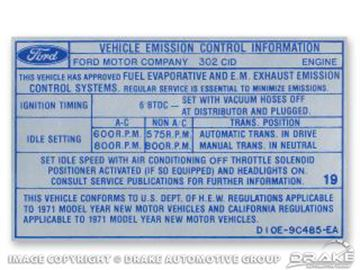 Picture of 302 2V Auto/Manual Transmission Emission Decal : DF-763