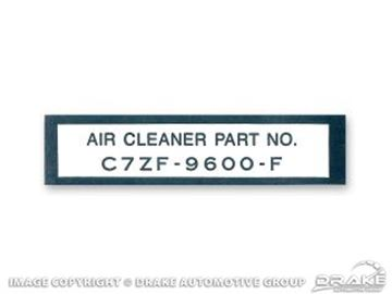 Picture of 1967 Air Cleaner Part Number Decal : DF-261