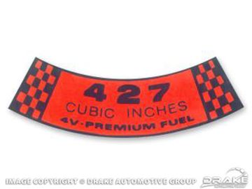 Picture of 1968 Air Cleaner Decal (427 4V Premium Fuel) : DF-316