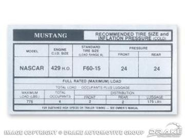 Picture of Boss 429 Glove Box Tire Pressure Decal : DF-310
