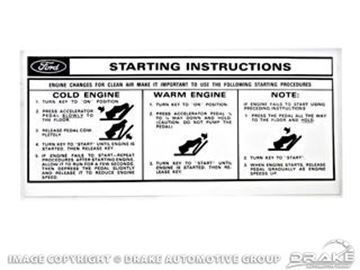 Picture of Sun Visor Start Instructions Sleeve Decal : DF-170