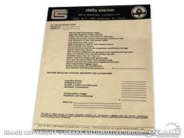 Picture of Shelby New Car Window Price Sticker : DF-123