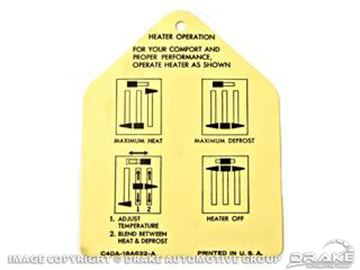 Picture of Heater Instruction Tag : DF-51