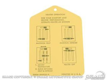 Picture of Heater Instruction Tag : DF-564