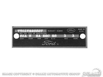Picture of 64-69 Door Tag Plate (with Rivets) : DT-1