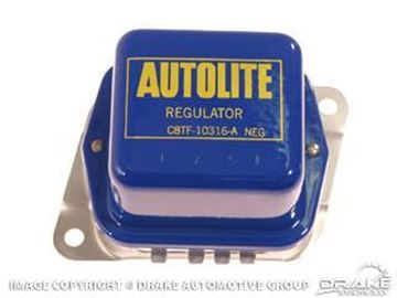 Picture of 1968-69 Mustang Voltage Regulator (With AC, blue and yellow with Autolite logo - economy reproduction) : C8TF-10316-BR