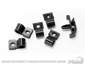 Picture of 1967-68 under hood harness clips (black, 6 piece, ABS) : 377774-SK