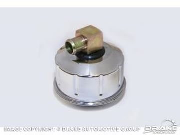 Picture of 1968-69 Mustang Closed Emissions Chrome Oil Cap With Gold Metal PCV Elbow : C8AZ-6766-BC