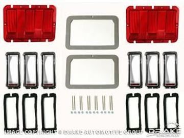 Picture of 1968 Mustang Concours Tail Lamp Bezel & Lens Master : KIT-ELC-6-DLX Kit