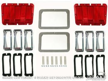 Picture of 1967 Mustang Concours Tail Lamp Bezel & Lens Master Kit : KIT-ELC-5-DLX